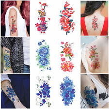 Women Sexy Beauty 3D Flowers Waterproof Temporary Tattoo Stickers Red Color
