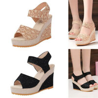 New Women Sandals Lace Hollow Gladiator Wedges Shoes Ladies Slides Peep Toe Hook
