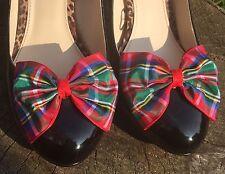 Plaid Shoe Clips 4 Shoes Royal Stewart Tartan Bows Pinup Vintage Rockabilly