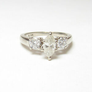 Estate 14K White Gold 0.50 Ct Marquise Cut Diamond Ring 0.96 Cts Total