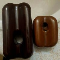 2 Vintage Brown Glazed Porcelain Strain Insulators