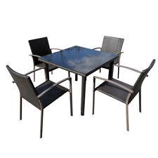 Polyrattan Sitzgruppe 6 tlg Gartentisch Set Gartenmöbel Garnitur Alu Essgruppe