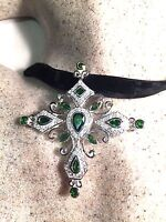Gothic Vintage Genuine Chrome Diopside Cross 925 Sterling Siilver Pendant