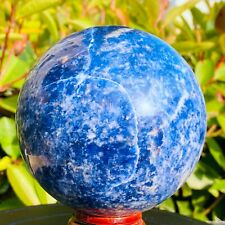 1095g Natural Sodalite blue-veins stone quartz crystal sphere ball healing+stand