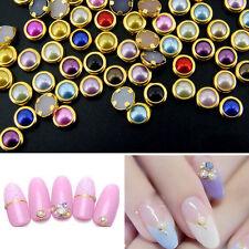 200 x4mm 3D Nail Art Alloy Decor Bling Rhinestone Pearl Charm Glitter Tips DIY L