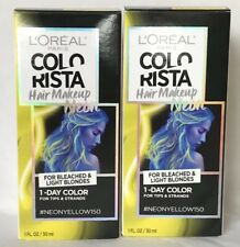 L'Oreal Colorista Hair Makeup Neon Yellow Color Bleached/Light Blondes 1 oz x2