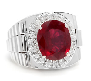 9.70Ct Ruby and Natural  Diamond 14K Solid White Gold Men's Ring