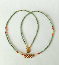 Afghan Turquoise, Pearls, Antique Roman Glass Pendant Tiny Seed Beads Necklace
