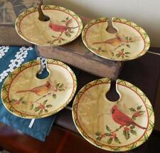 Red Cardinal Birds Set of 4 Melamine Appetizer Plates Snack NIB
