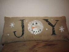 Primitive Stenciled Pillow - JOY - snowman head - winter - Christmas