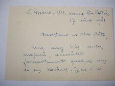 Document recto/verso carte André Fertré ( Poète et Peintre  ) 1931