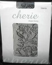 CHERIE da donna Nero Designer calze collant moda taglia unica pizzo c038.n002