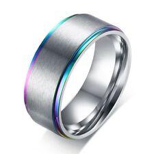 Stainless Steel Brushed Center Rainbow Step Edge Band Ring Size 7-12