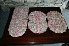 Pink  White  Green Potpourri Rose Petal 3D Table Runner & Placemat 5 Piece Set