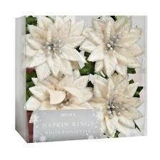 """Nantucket Poinsettia Napkin Rings White Silver Set of 4 Christmas NEW 3""""x3"""""""