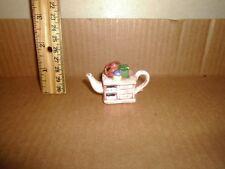 Miniature Figure Red Rose Teapot English Life Kitchen Cupboard Lot#33