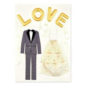 Fabulous Papyrus Card Gold Love Balloons Layered Fabric Wedding Dress & Tuxedo