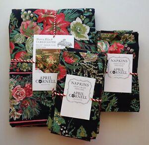 Set April Cornell MERRY Black Floral Holiday 60 x 120 Tablecloth + 16 Napkins
