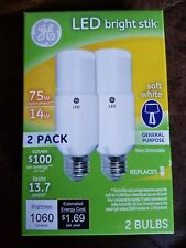 GE LED Bright Stik Replacement Light Bulb 75W Equivalent 2-pack Soft White 32295