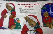 JINGLE BEAR Christmas Bear Appliques 6 Designs with Instructions Fabric Panel