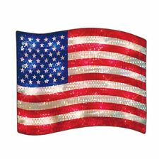 Patriotic Lighted American Flag July 4th Memorial Day Window/Wall/Door/YardDecor