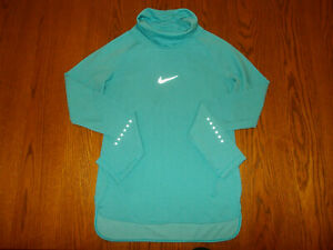 NIKE DRI-FIT LONG SLEEVE BLUE HI-NECK REFLECTIVE RUNNING TOP WOMENS SMALL EXCELL
