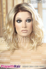 SO HOT! Beachy Waves Wig Lace Front Mono Top Blonde & Dark Roots