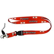 POLAND RED COUNTRY FLAG LANYARD KEYCHAIN PASSHOLDER ..NEW