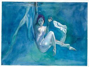 original painting 24x32 cm 329GK art Watercolor naked woman swimming underwater