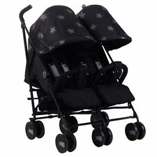 My Babiie MB22 Twin / Double From Birth Baby Folding Stroller - Black Stars