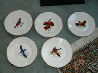 VINTAGE Homer Laughlin GAME BIRD PLATES (LOT OF 5) WITH GOLD GILT RIM & BONUS