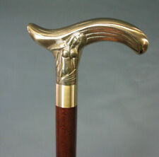 Victorain Solid Brass brown Wooden Walking Cane Brass Mermaid Head Handle Stick