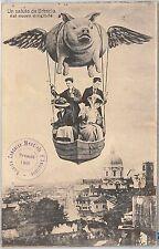 CARTOLINA d'Epoca - BRESCIA Città : SALUTI DAL NUOVO DIRIGIBILE !!! 1909