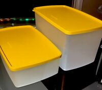 TUPPERWARE NEW VINTAGE STOCK #1527 &713 CONTAINER SET WITH VIBRANT YELLOW SEALS