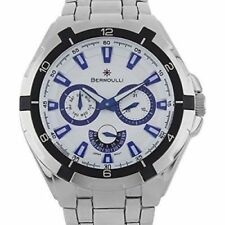Bernoulli Ara Men's Stainless Steel Multi-Function Watch: White-BNL-9306-A