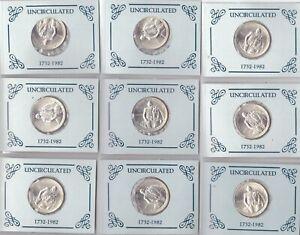 SILVER GEORGE WASHINGTON HALF DOLLAR-  1982 D - UNCIRCULATED -  LOT of 9 Coins