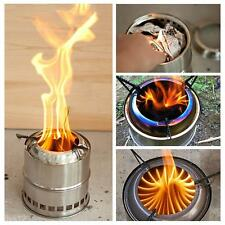 Portable Outdoor Camping Stainless Steel Lightweight Wood Stove Equipment Silver