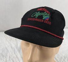 Vtg America's Alfalfa Staudinger Seed Hat Snapback Black Cap K Products USA