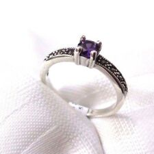 925 STERLING SILVER 4 MARCASITE AND AMETHYST CZ SET  RING SIZE 6