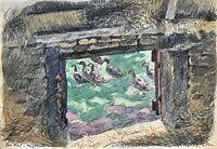 Karl Adser 1912-1995 Blick vom Heuboden auf Enten Romsö Dänemark Ostseeinsel