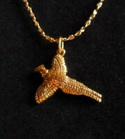 * Pheasant - FLYING Pendant Gold 24 kt * +++ FREE Chain * Made in THE USA *