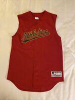 Majestic MLB Oakland Athletics A's Alternate Red Sleeveless Jersey Small