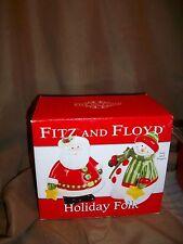 *New* Fitz & Floyd Holiday Folk Salt & Pepper Shakers Santa Claus Snowman