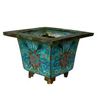Vintage Chinese Cloisonne Brass Turquoise Enamel Footed Jardiniere Planter
