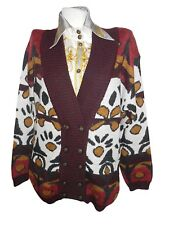 Womens Vtg 80s Oversize Knit Nordic Mohair Hippy Twin Wool Cardigan Jacket X76
