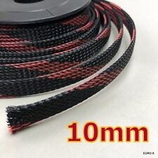 10M x10mm Black Red Expandable Braided Cable Sleeving Wire Protection Net #Agtc