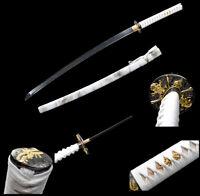 handmade Japanese Katana Samurai Sword Black Folded Steel Full Tang Sharp Blade
