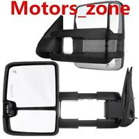 For 03-06 Silverado Sierra Chrome Towing Power Heated Mirrors Smoke LED Signals