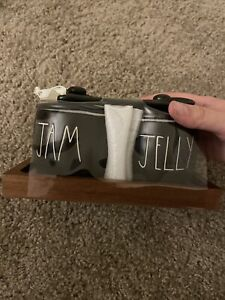 Rae Dunn Jam And Jelly Jars Set Black Ceramic With Wood Tray New With Tags