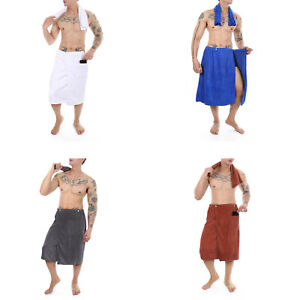 Men Adjustable Wrap Around Pocket Bath Towel Robe Surf Beach Swim Towel Clothing